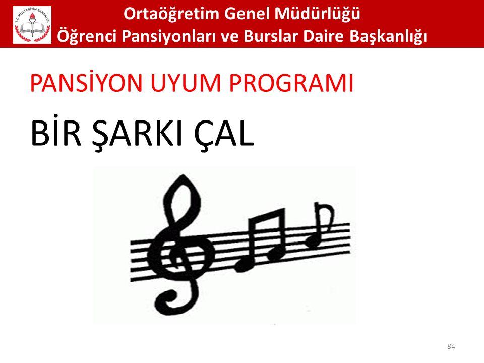 Ortaöğretim Genel Müdürlüğü Öğrenci Pansiyonları ve Burslar Daire Başkanlığı 84 PANSİYON UYUM PROGRAMI BİR ŞARKI ÇAL
