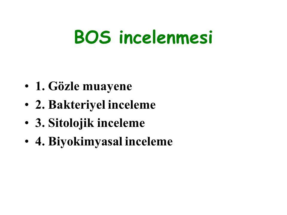BOS incelenmesi 1. Gözle muayene 2. Bakteriyel inceleme 3. Sitolojik inceleme 4. Biyokimyasal inceleme