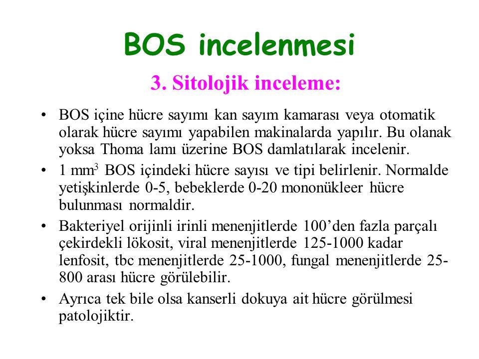 BOS incelenmesi 3. Sitolojik inceleme: BOS içine hücre sayımı kan sayım kamarası veya otomatik olarak hücre sayımı yapabilen makinalarda yapılır. Bu o