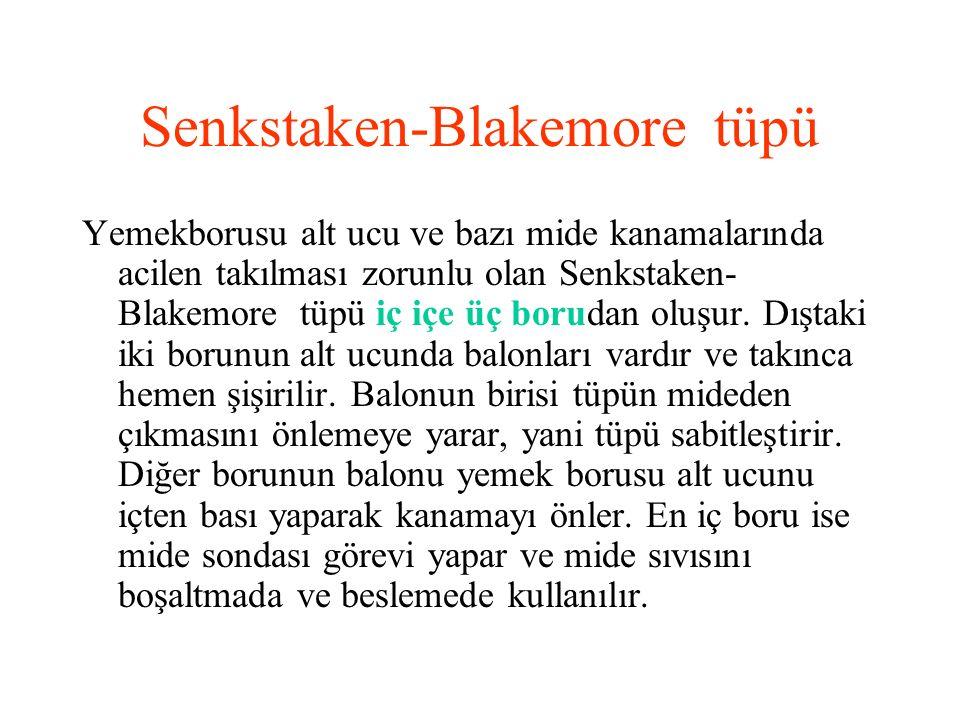 Senkstaken-Blakemore tüpü Yemekborusu alt ucu ve bazı mide kanamalarında acilen takılması zorunlu olan Senkstaken- Blakemore tüpü iç içe üç borudan ol