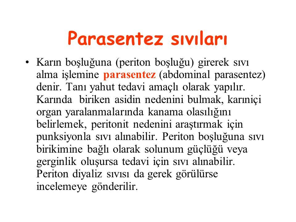 Parasentez sıvıları Karın boşluğuna (periton boşluğu) girerek sıvı alma işlemine parasentez (abdominal parasentez) denir. Tanı yahut tedavi amaçlı ola