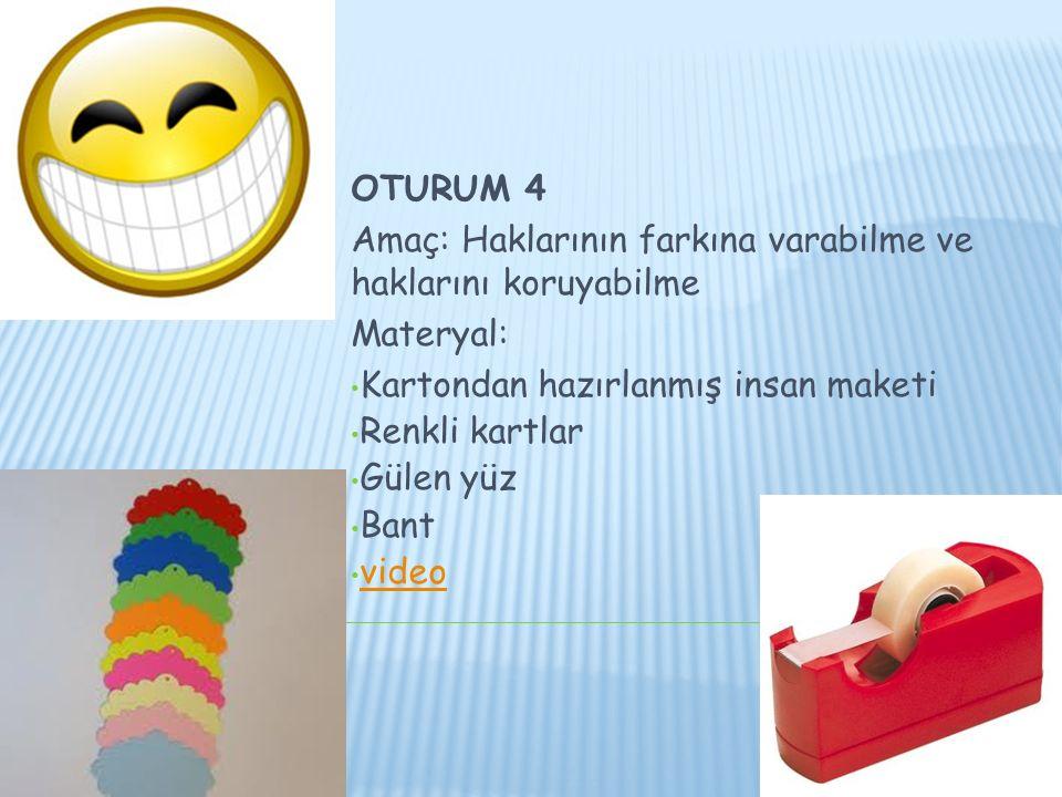 OTURUM 4 Amaç: Haklarının farkına varabilme ve haklarını koruyabilme Materyal: Kartondan hazırlanmış insan maketi Renkli kartlar Gülen yüz Bant video