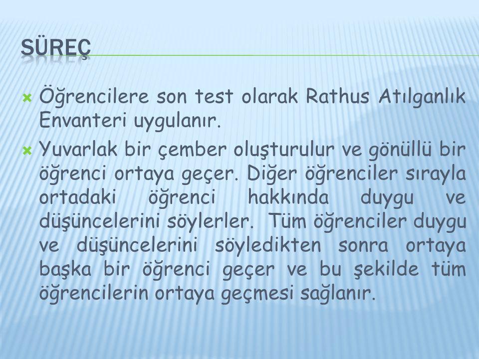  Öğrencilere son test olarak Rathus Atılganlık Envanteri uygulanır.