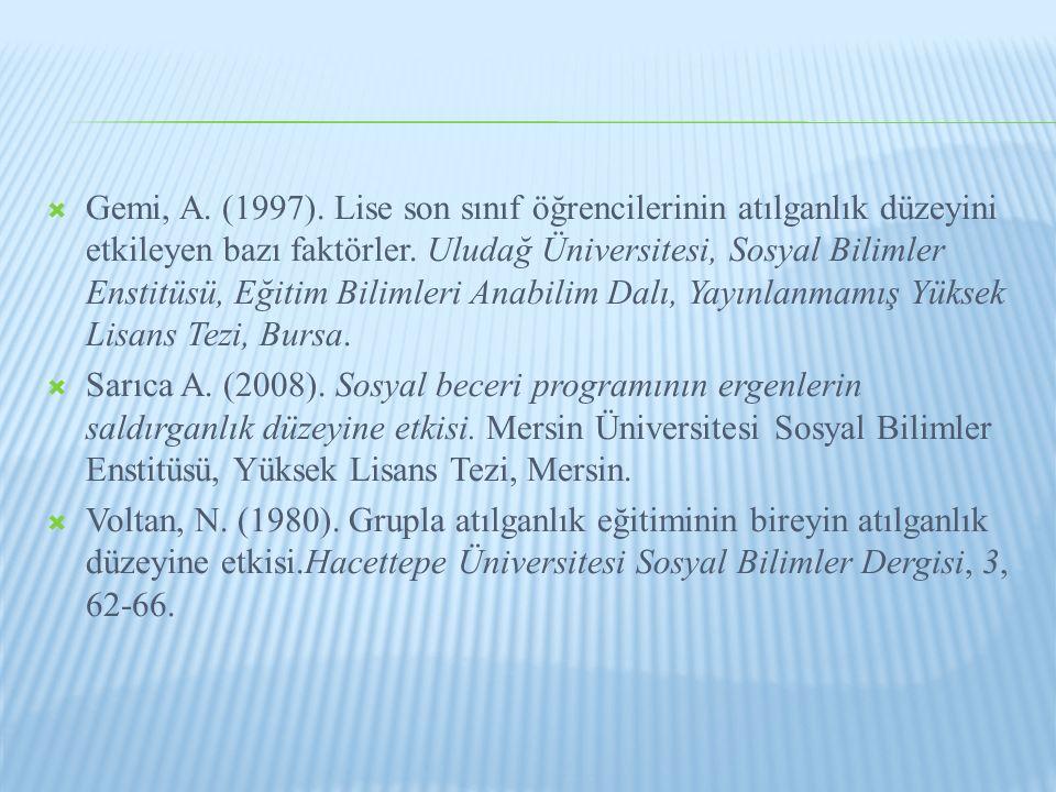  Gemi, A.(1997). Lise son sınıf öğrencilerinin atılganlık düzeyini etkileyen bazı faktörler.