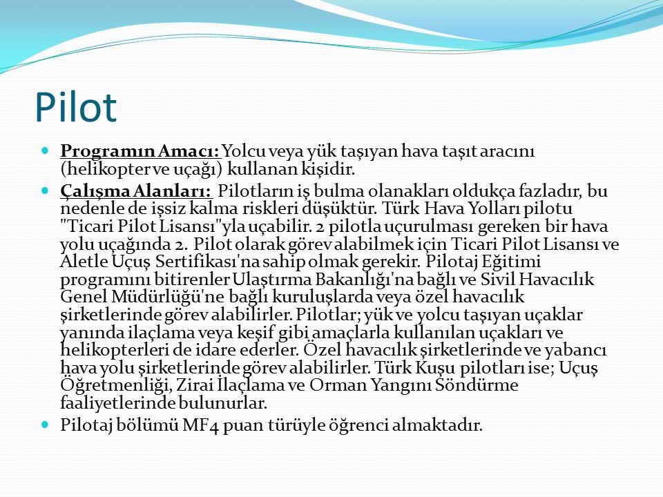 Pilot Programın Amacı: Yolcu veya yük taşıyan hava taşıt aracını (helikopter ve uçağı) kullanan kişidir.