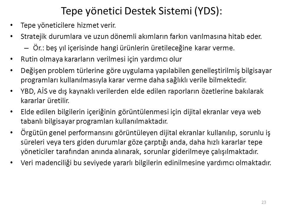 Tepe yönetici Destek Sistemi (YDS): Tepe yöneticilere hizmet verir. Stratejik durumlara ve uzun dönemli akımların farkın varılmasına hitab eder. – Ör.