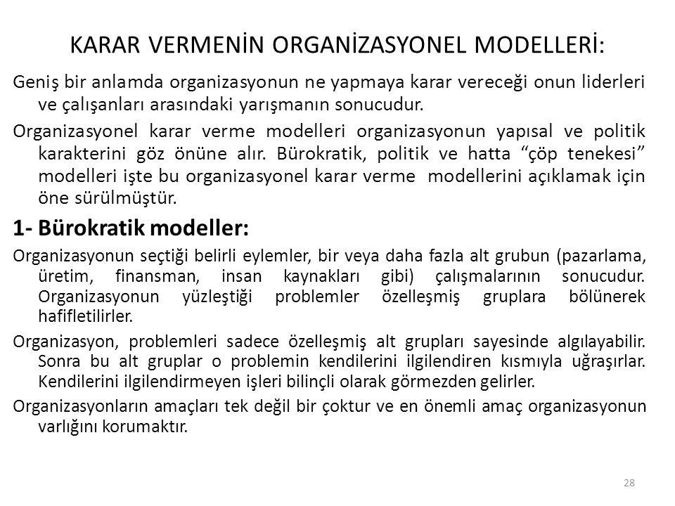 KARAR VERMENİN ORGANİZASYONEL MODELLERİ: Geniş bir anlamda organizasyonun ne yapmaya karar vereceği onun liderleri ve çalışanları arasındaki yarışmanı