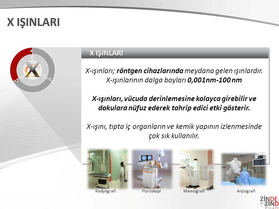 X IŞINLARI X-ışınları; röntgen cihazlarında meydana gelen ışınlardır.