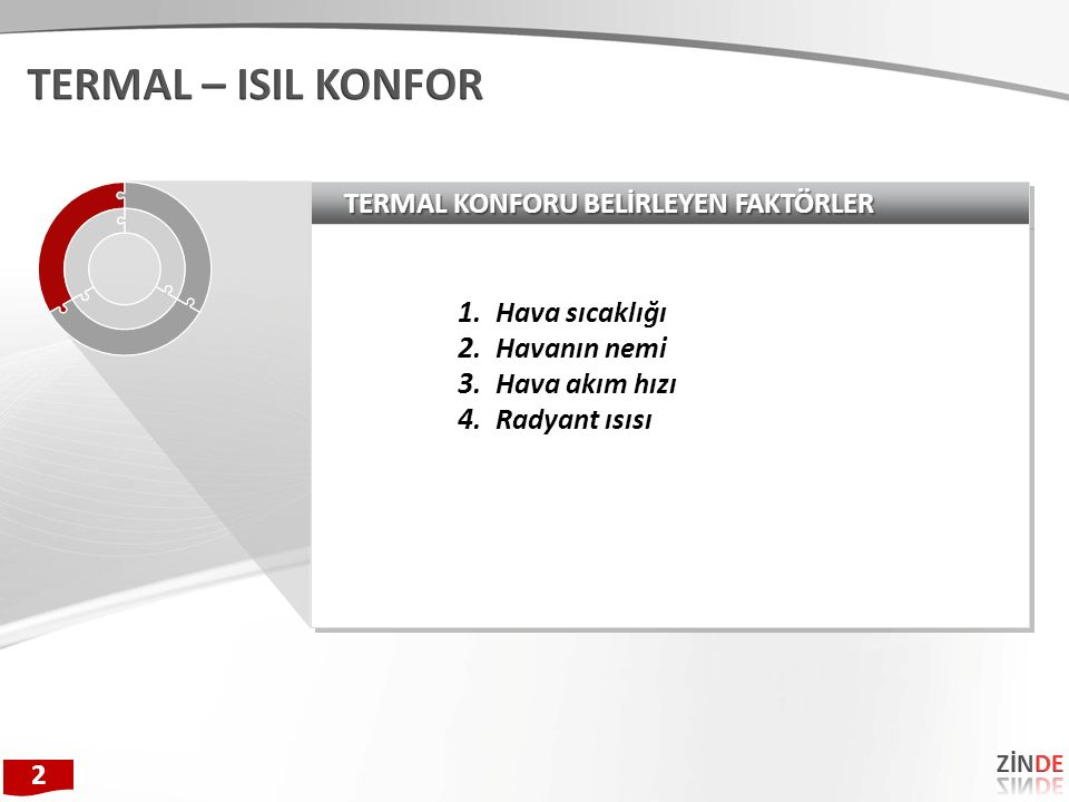 TERMAL KONFORU BELİRLEYEN FAKTÖRLER 1. Hava sıcaklığı 2.