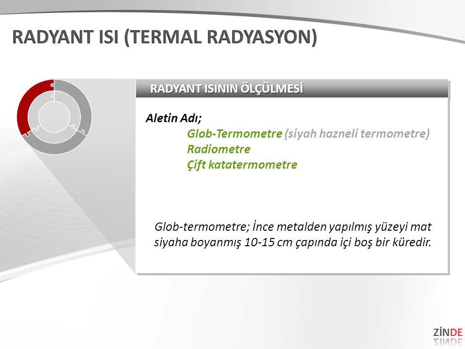 RADYANT ISININ ÖLÇÜLMESİ Aletin Adı; Glob-Termometre (siyah hazneli termometre) Radiometre Çift katatermometre Glob-termometre; İnce metalden yapılmış yüzeyi mat siyaha boyanmış 10-15 cm çapında içi boş bir küredir.