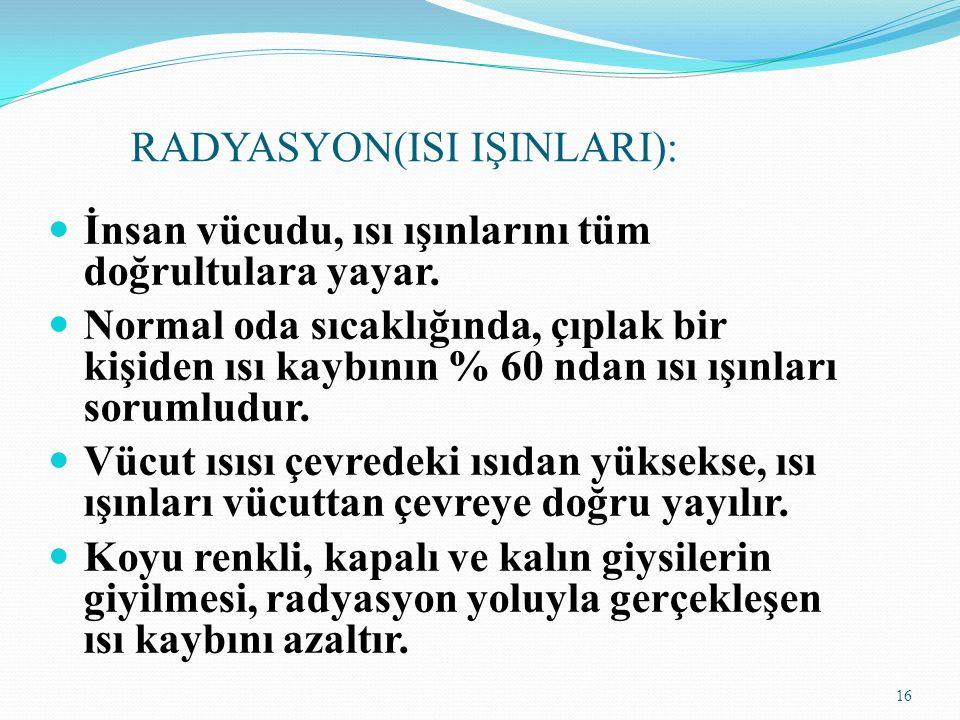 RADYASYON(ISI IŞINLARI): İnsan vücudu, ısı ışınlarını tüm doğrultulara yayar.