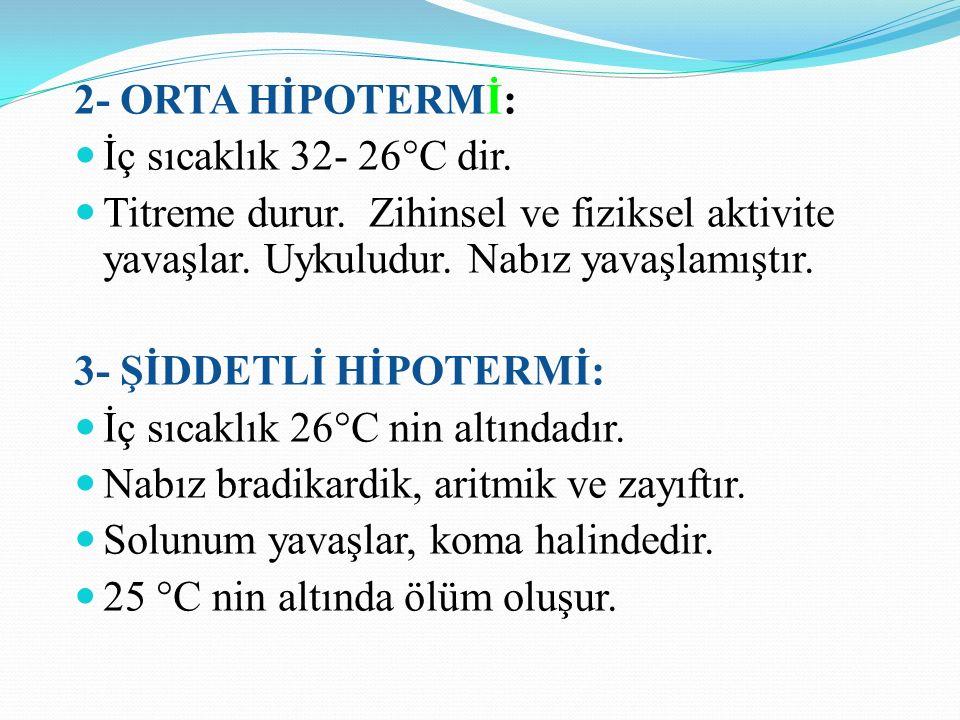 2- ORTA HİPOTERMİ: İç sıcaklık 32- 26°C dir.Titreme durur.