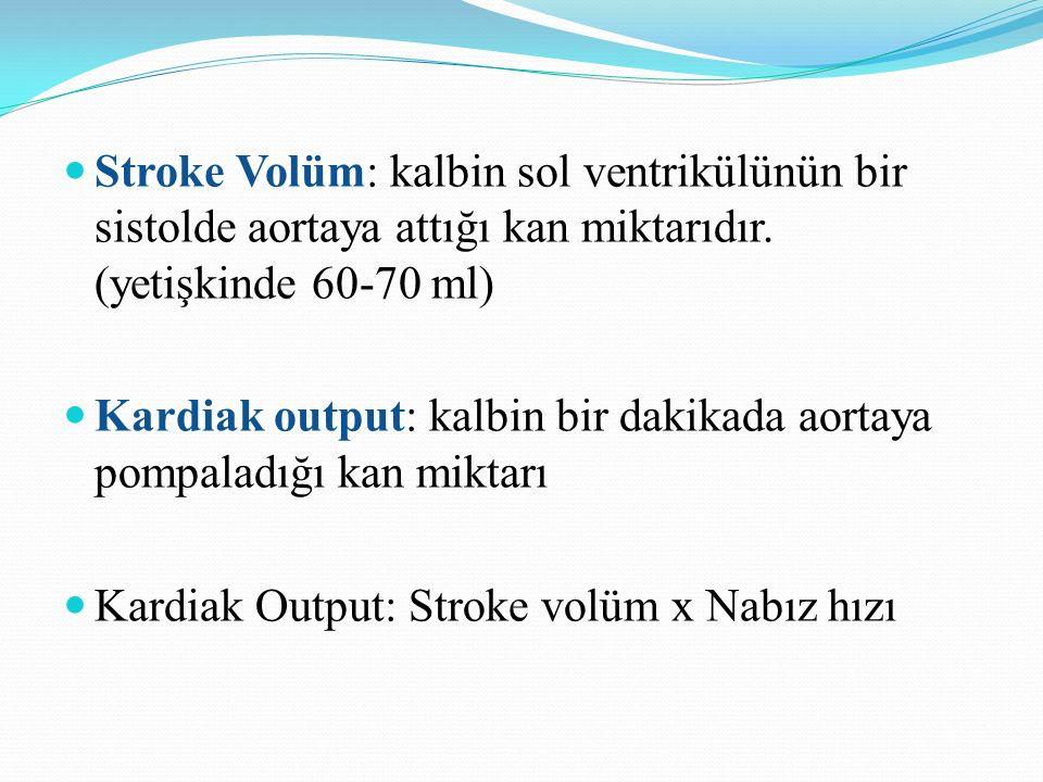Stroke Volüm: kalbin sol ventrikülünün bir sistolde aortaya attığı kan miktarıdır. (yetişkinde 60-70 ml) Kardiak output: kalbin bir dakikada aortaya p