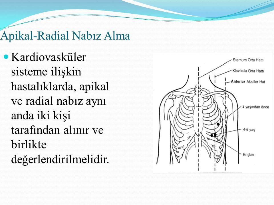 Apikal-Radial Nabız Alma Kardiovasküler sisteme ilişkin hastalıklarda, apikal ve radial nabız aynı anda iki kişi tarafından alınır ve birlikte değerlendirilmelidir.
