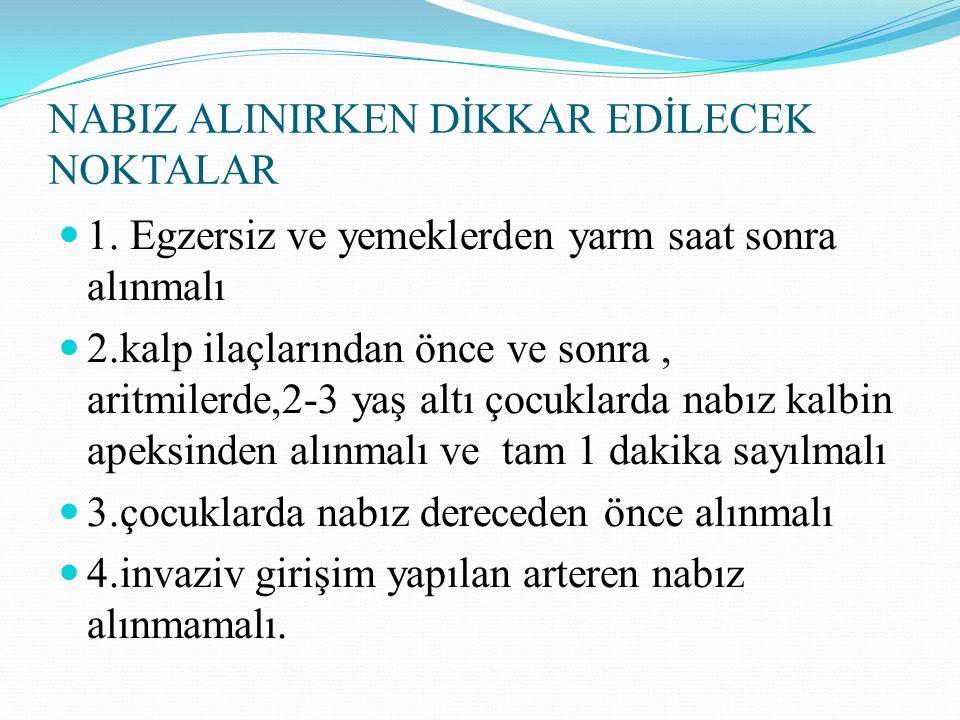NABIZ ALINIRKEN DİKKAR EDİLECEK NOKTALAR 1.