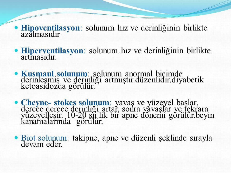 Hipoventilasyon: solunum hız ve derinliğinin birlikte azalmasıdır Hiperventilasyon: solunum hız ve derinliğinin birlikte artmasıdır.