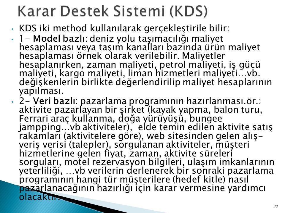 KDS iki method kullanılarak gerçekleştirile bilir: 1- Model bazlı: deniz yolu taşımacılığı maliyet hesaplaması veya taşım kanalları bazında ürün maliy