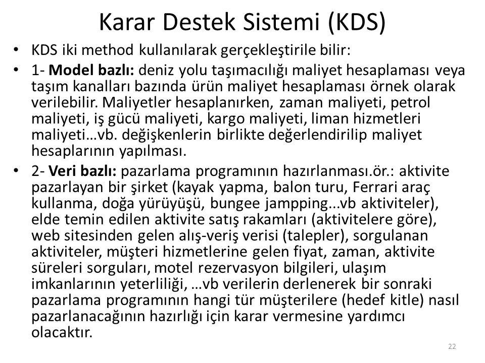 Karar Destek Sistemi (KDS) KDS iki method kullanılarak gerçekleştirile bilir: 1- Model bazlı: deniz yolu taşımacılığı maliyet hesaplaması veya taşım kanalları bazında ürün maliyet hesaplaması örnek olarak verilebilir.