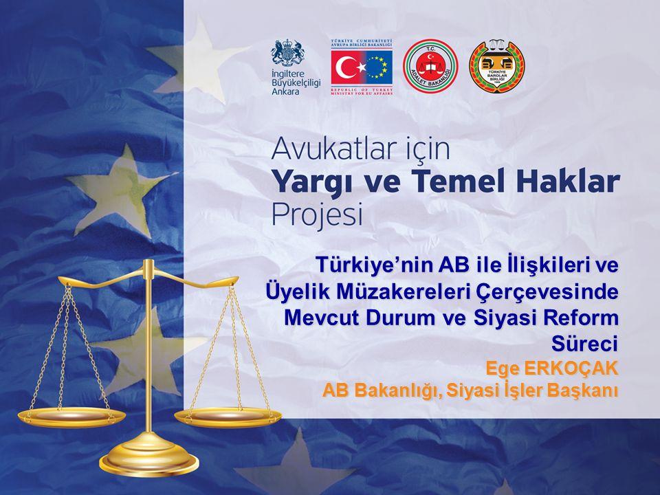 Türkiye'nin AB ile İlişkileri ve Üyelik Müzakereleri Çerçevesinde Mevcut Durum ve Siyasi Reform Süreci Ege ERKOÇAK AB Bakanlığı, Siyasi İşler Başkanı
