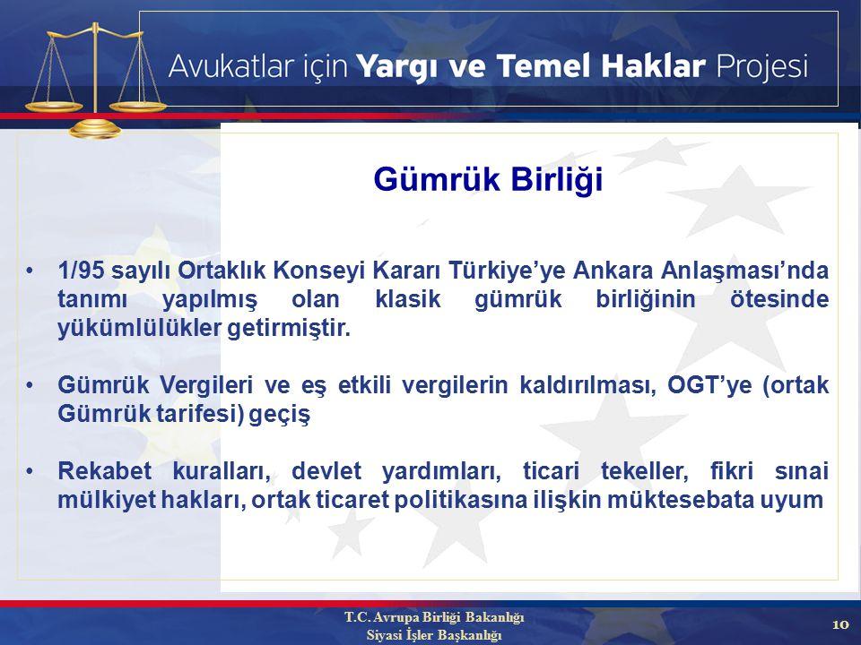 10 1/95 sayılı Ortaklık Konseyi Kararı Türkiye'ye Ankara Anlaşması'nda tanımı yapılmış olan klasik gümrük birliğinin ötesinde yükümlülükler getirmiştir.