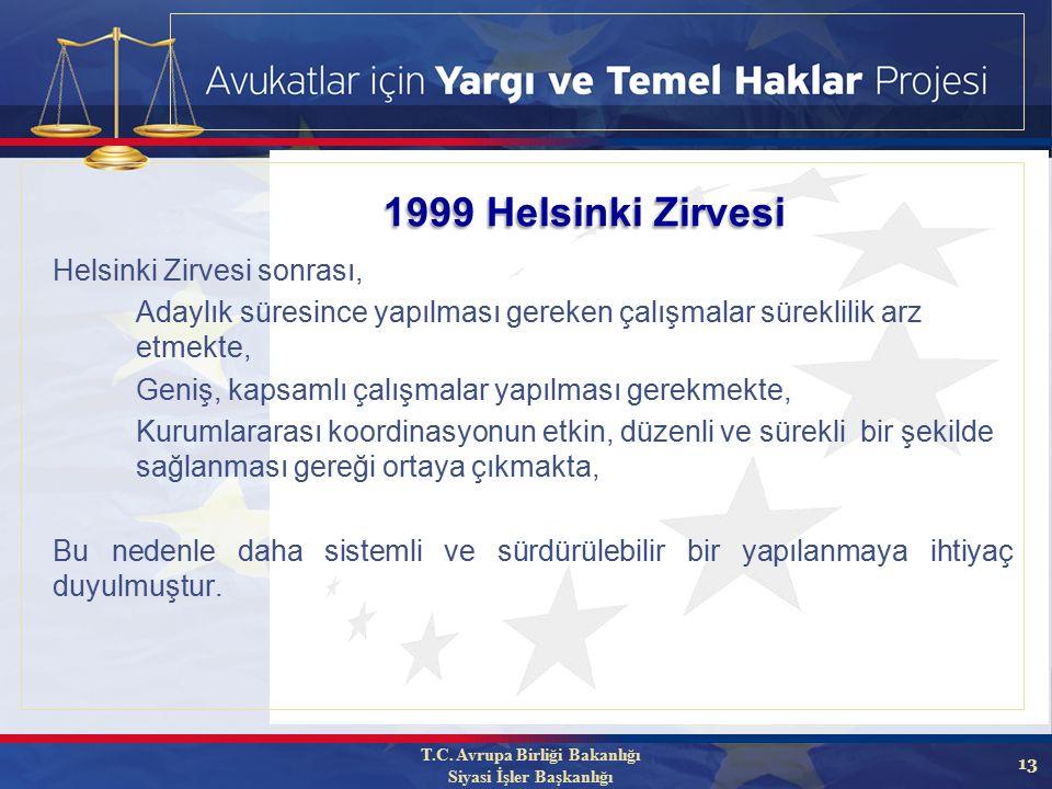 13 1999 Helsinki Zirvesi Helsinki Zirvesi sonrası, Adaylık süresince yapılması gereken çalışmalar süreklilik arz etmekte, Geniş, kapsamlı çalışmalar yapılması gerekmekte, Kurumlararası koordinasyonun etkin, düzenli ve sürekli bir şekilde sağlanması gereği ortaya çıkmakta, Bu nedenle daha sistemli ve sürdürülebilir bir yapılanmaya ihtiyaç duyulmuştur.