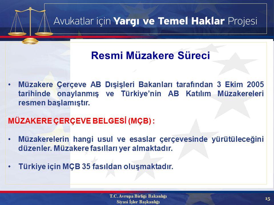 15 Müzakere Çerçeve AB Dışişleri Bakanları tarafından 3 Ekim 2005 tarihinde onaylanmış ve Türkiye'nin AB Katılım Müzakereleri resmen başlamıştır.