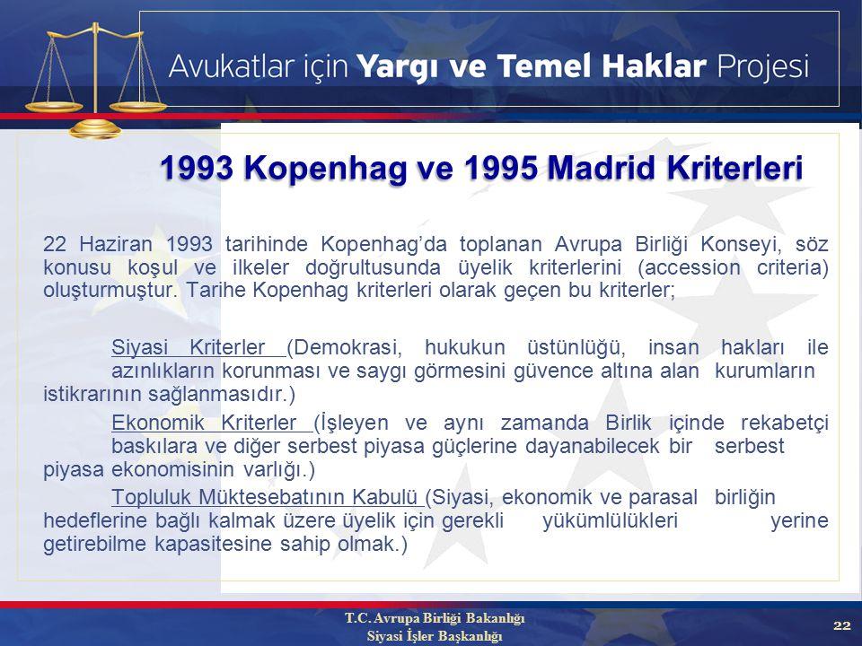 22 1993 Kopenhag ve 1995 Madrid Kriterleri 22 Haziran 1993 tarihinde Kopenhag'da toplanan Avrupa Birliği Konseyi, söz konusu koşul ve ilkeler doğrultusunda üyelik kriterlerini (accession criteria) oluşturmuştur.