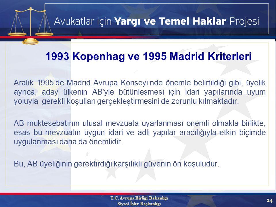 24 Aralık 1995'de Madrid Avrupa Konseyi'nde önemle belirtildiği gibi, üyelik ayrıca, aday ülkenin AB'yle bütünleşmesi için idari yapılarında uyum yoluyla gerekli koşulları gerçekleştirmesini de zorunlu kılmaktadır.