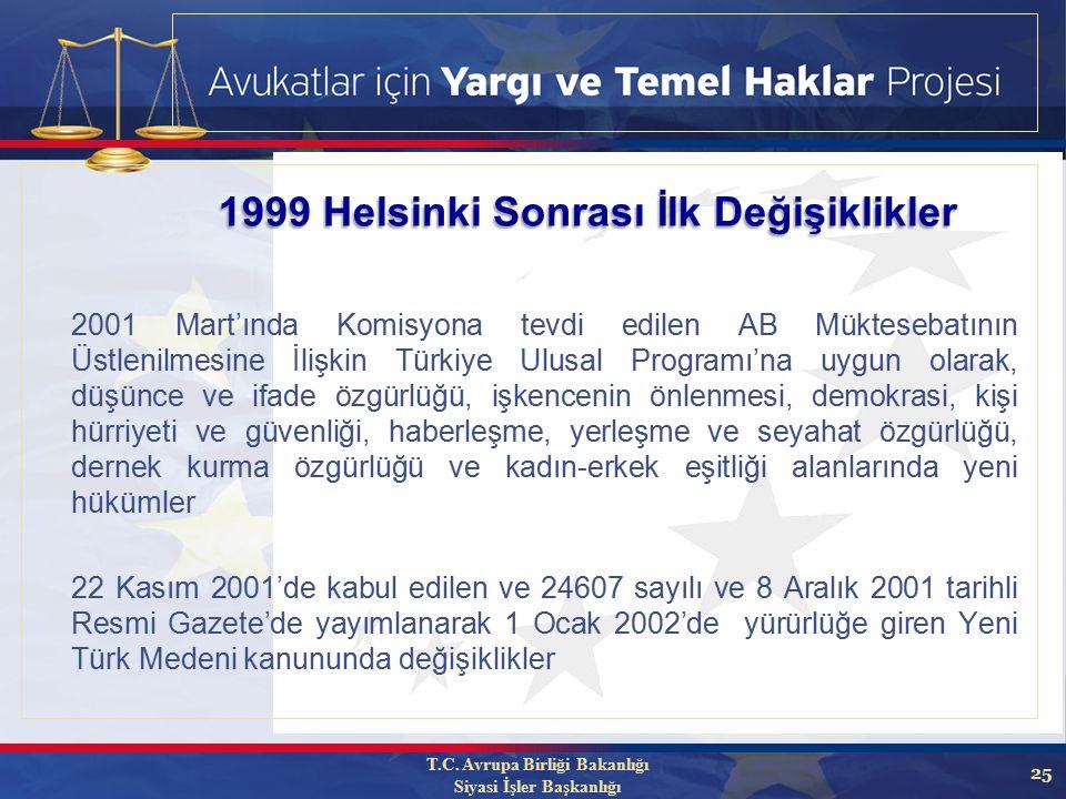 25 2001 Mart'ında Komisyona tevdi edilen AB Müktesebatının Üstlenilmesine İlişkin Türkiye Ulusal Programı'na uygun olarak, düşünce ve ifade özgürlüğü, işkencenin önlenmesi, demokrasi, kişi hürriyeti ve güvenliği, haberleşme, yerleşme ve seyahat özgürlüğü, dernek kurma özgürlüğü ve kadın-erkek eşitliği alanlarında yeni hükümler 22 Kasım 2001'de kabul edilen ve 24607 sayılı ve 8 Aralık 2001 tarihli Resmi Gazete'de yayımlanarak 1 Ocak 2002'de yürürlüğe giren Yeni Türk Medeni kanununda değişiklikler 1999 Helsinki Sonrası İlk Değişiklikler T.C.