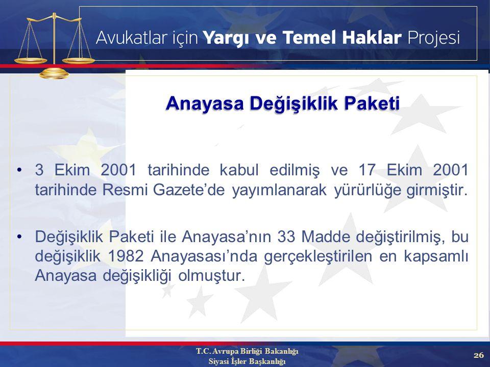 26 3 Ekim 2001 tarihinde kabul edilmiş ve 17 Ekim 2001 tarihinde Resmi Gazete'de yayımlanarak yürürlüğe girmiştir.