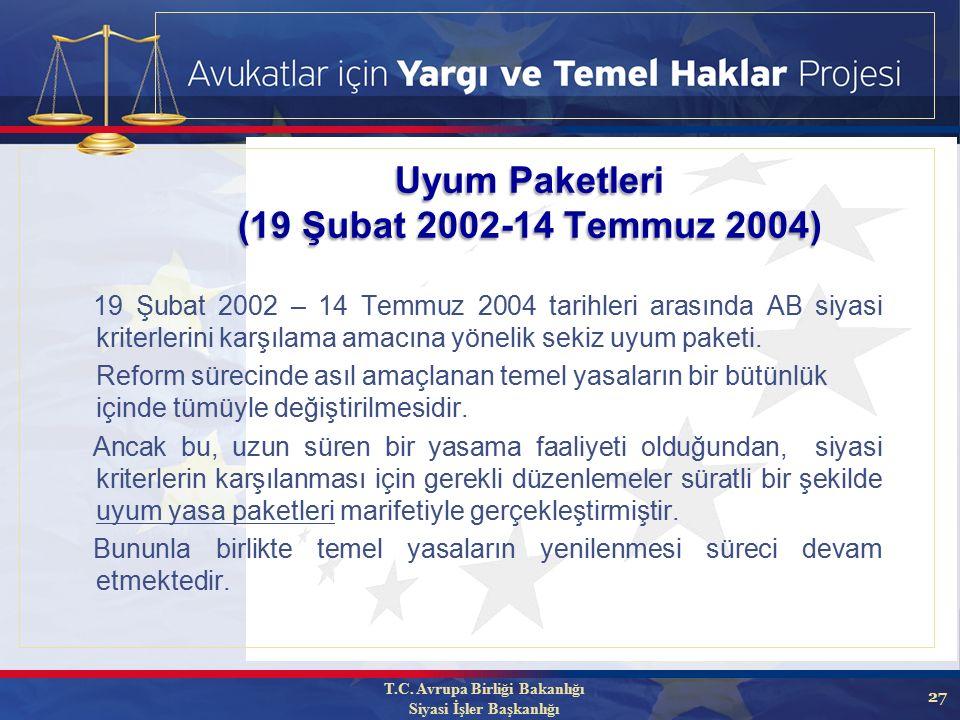 27 19 Şubat 2002 – 14 Temmuz 2004 tarihleri arasında AB siyasi kriterlerini karşılama amacına yönelik sekiz uyum paketi.