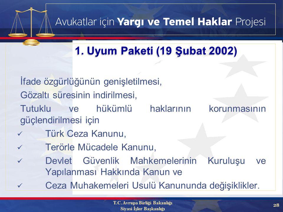 28 İfade özgürlüğünün genişletilmesi, Gözaltı süresinin indirilmesi, Tutuklu ve hükümlü haklarının korunmasının güçlendirilmesi için Türk Ceza Kanunu, Terörle Mücadele Kanunu, Devlet Güvenlik Mahkemelerinin Kuruluşu ve Yapılanması Hakkında Kanun ve Ceza Muhakemeleri Usulü Kanununda değişiklikler.