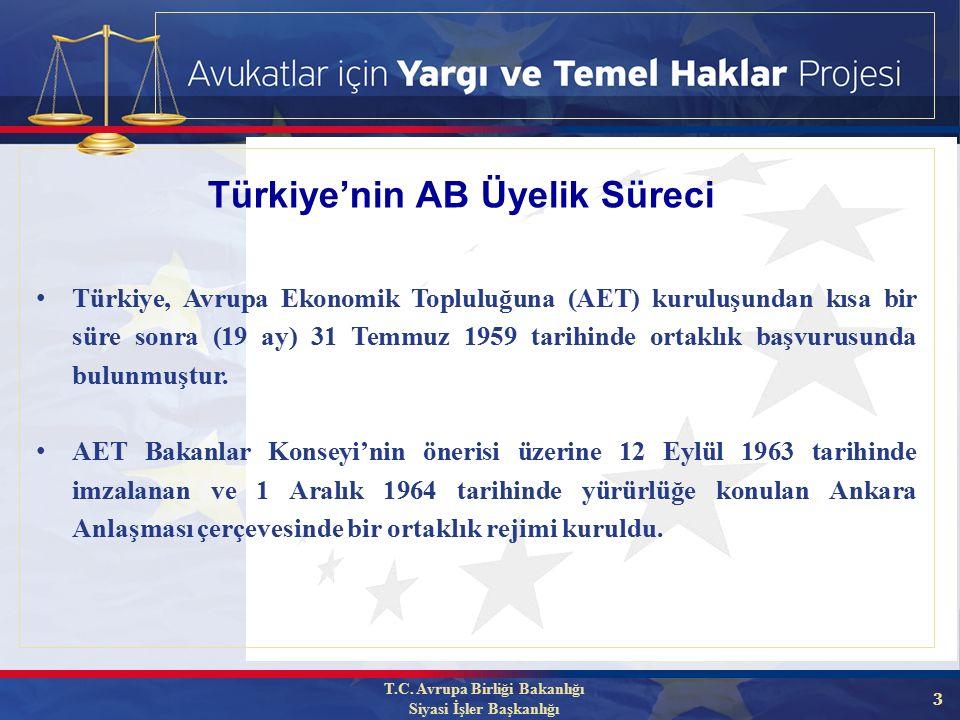3 Türkiye, Avrupa Ekonomik Topluluğuna (AET) kuruluşundan kısa bir süre sonra (19 ay) 31 Temmuz 1959 tarihinde ortaklık başvurusunda bulunmuştur.
