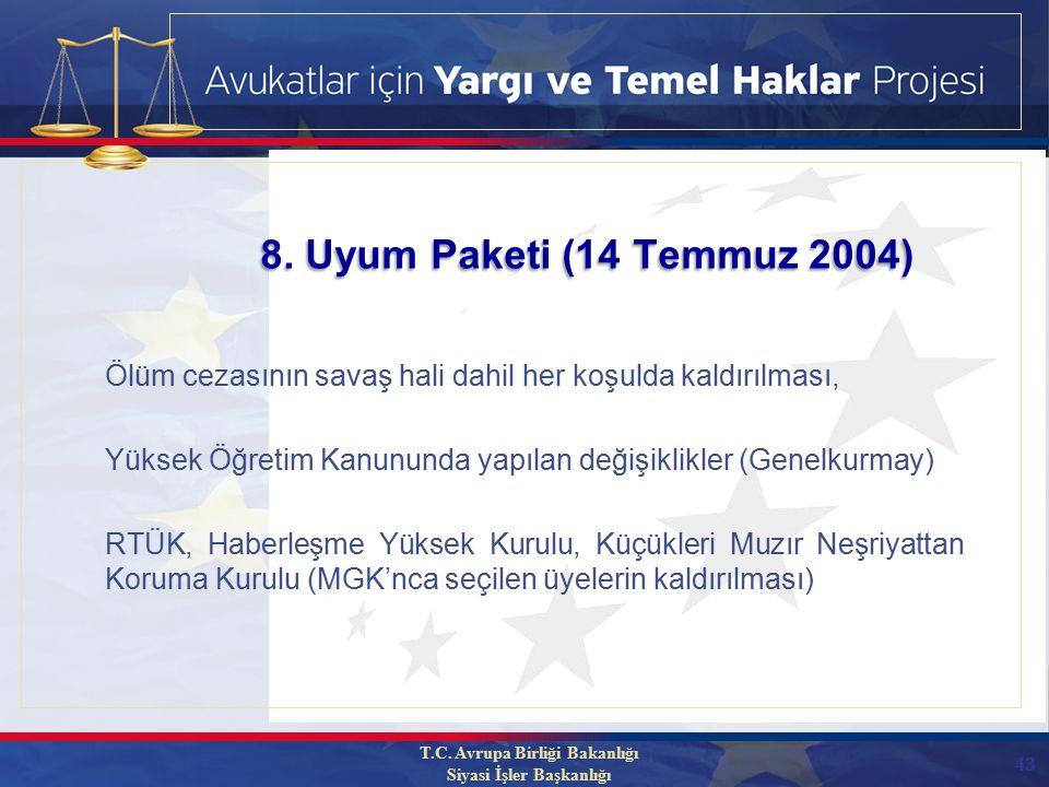 43 Ölüm cezasının savaş hali dahil her koşulda kaldırılması, Yüksek Öğretim Kanununda yapılan değişiklikler (Genelkurmay) RTÜK, Haberleşme Yüksek Kurulu, Küçükleri Muzır Neşriyattan Koruma Kurulu (MGK'nca seçilen üyelerin kaldırılması) 8.