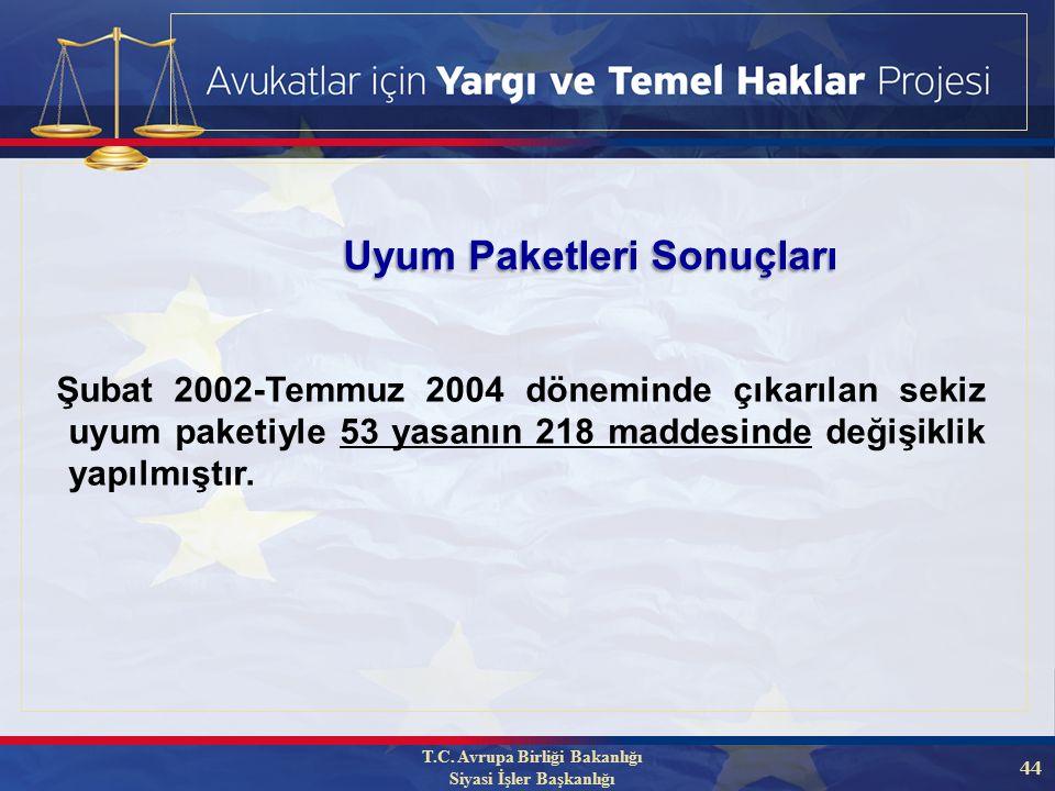 44 Şubat 2002-Temmuz 2004 döneminde çıkarılan sekiz uyum paketiyle 53 yasanın 218 maddesinde değişiklik yapılmıştır.