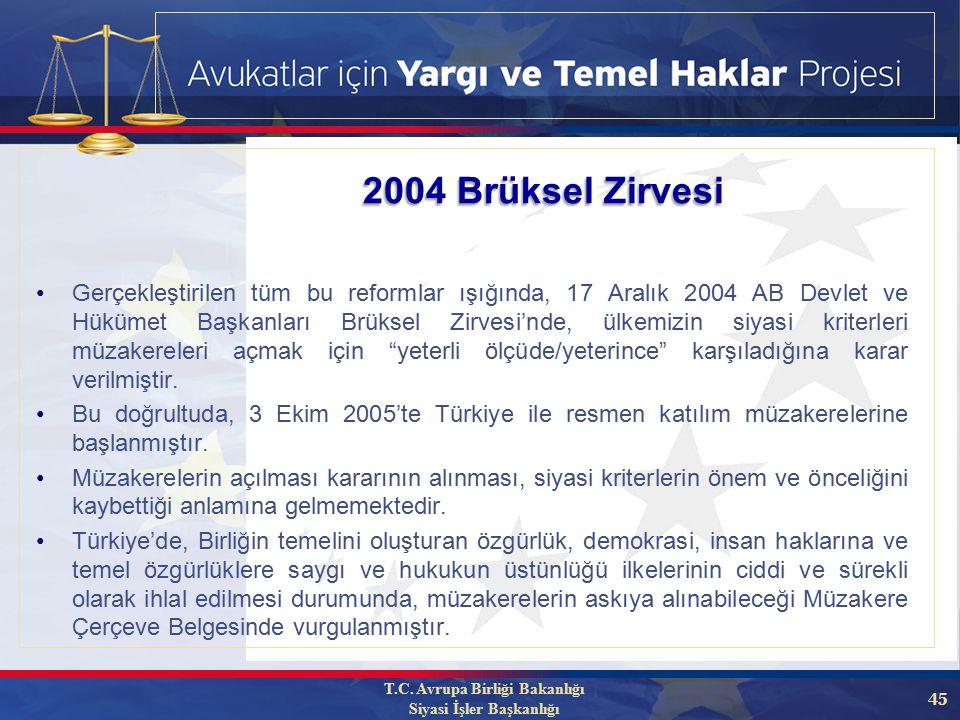 45 Gerçekleştirilen tüm bu reformlar ışığında, 17 Aralık 2004 AB Devlet ve Hükümet Başkanları Brüksel Zirvesi'nde, ülkemizin siyasi kriterleri müzakereleri açmak için yeterli ölçüde/yeterince karşıladığına karar verilmiştir.