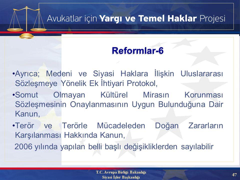 47 Ayrıca; Medeni ve Siyasi Haklara İlişkin Uluslararası Sözleşmeye Yönelik Ek İhtiyari Protokol, Somut Olmayan Kültürel Mirasın Korunması Sözleşmesinin Onaylanmasının Uygun Bulunduğuna Dair Kanun, Terör ve Terörle Mücadeleden Doğan Zararların Karşılanması Hakkında Kanun, 2006 yılında yapılan belli başlı değişikliklerden sayılabilir Reformlar-6 T.C.
