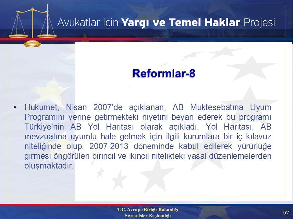 57 Hükümet, Nisan 2007'de açıklanan, AB Müktesebatına Uyum Programını yerine getirmekteki niyetini beyan ederek bu programı Türkiye'nin AB Yol Haritası olarak açıkladı.