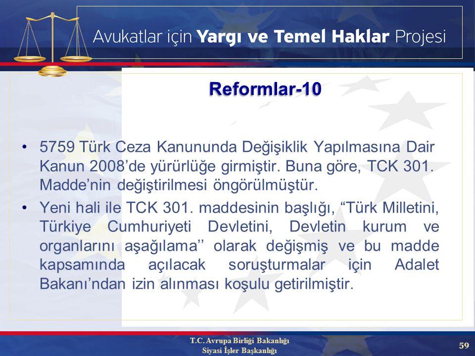59 5759 Türk Ceza Kanununda Değişiklik Yapılmasına Dair Kanun 2008'de yürürlüğe girmiştir.