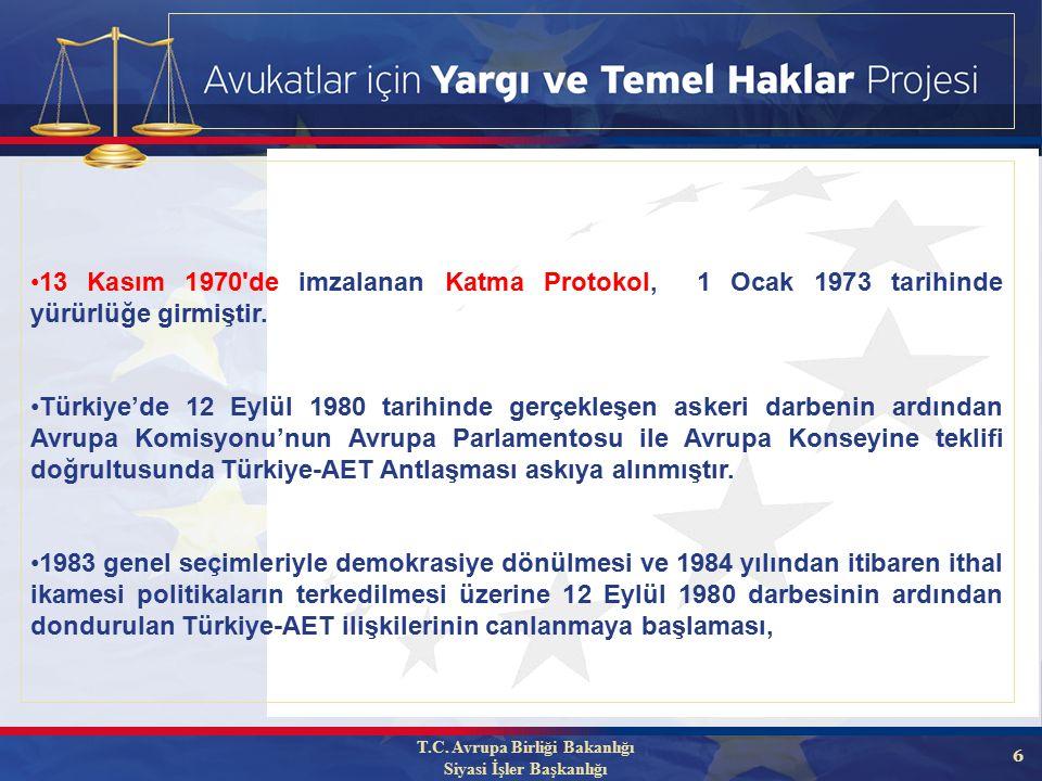 6 13 Kasım 1970 de imzalanan Katma Protokol, 1 Ocak 1973 tarihinde yürürlüğe girmiştir.