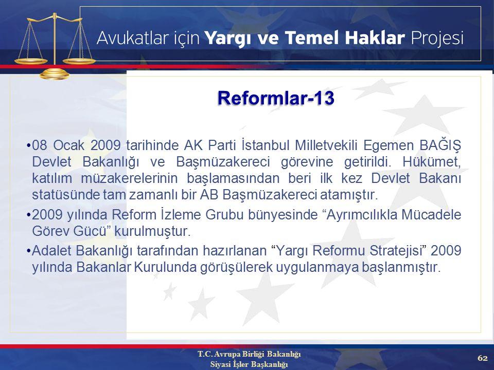 62 08 Ocak 2009 tarihinde AK Parti İstanbul Milletvekili Egemen BAĞIŞ Devlet Bakanlığı ve Başmüzakereci görevine getirildi.