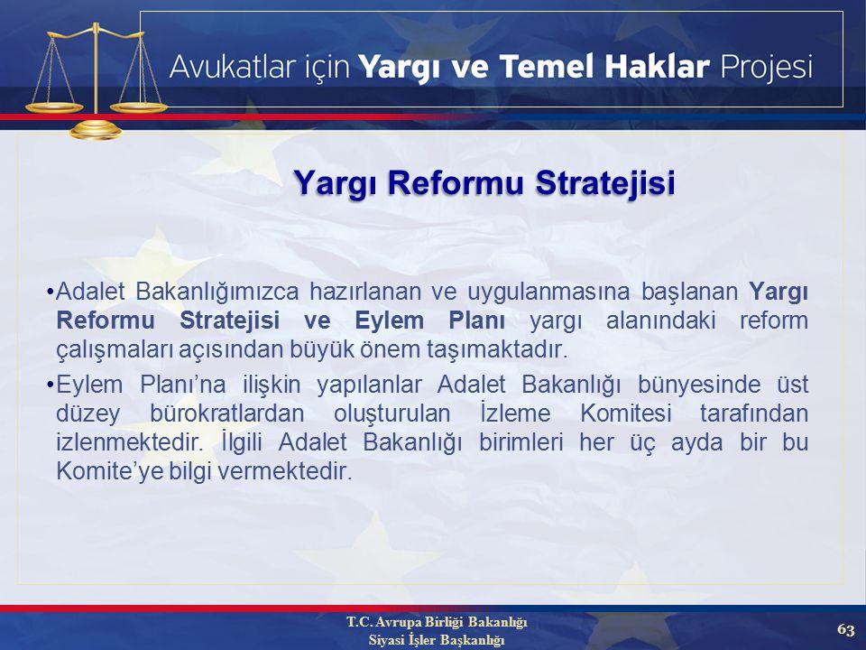 63 Adalet Bakanlığımızca hazırlanan ve uygulanmasına başlanan Yargı Reformu Stratejisi ve Eylem Planı yargı alanındaki reform çalışmaları açısından büyük önem taşımaktadır.