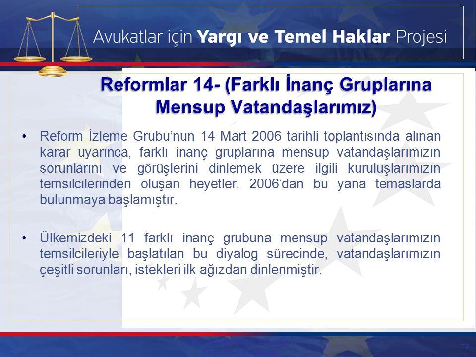 72 Reform İzleme Grubu'nun 14 Mart 2006 tarihli toplantısında alınan karar uyarınca, farklı inanç gruplarına mensup vatandaşlarımızın sorunlarını ve görüşlerini dinlemek üzere ilgili kuruluşlarımızın temsilcilerinden oluşan heyetler, 2006'dan bu yana temaslarda bulunmaya başlamıştır.