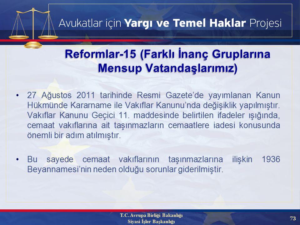 73 27 Ağustos 2011 tarihinde Resmi Gazete'de yayımlanan Kanun Hükmünde Kararname ile Vakıflar Kanunu'nda değişiklik yapılmıştır.