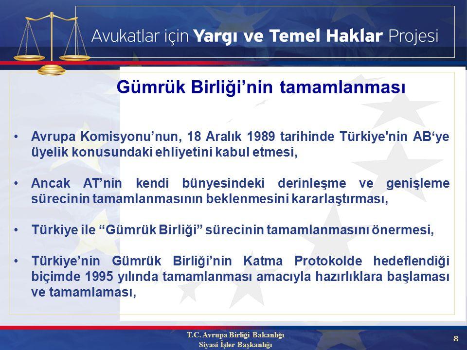 8 Avrupa Komisyonu'nun, 18 Aralık 1989 tarihinde Türkiye nin AB'ye üyelik konusundaki ehliyetini kabul etmesi, Ancak AT'nin kendi bünyesindeki derinleşme ve genişleme sürecinin tamamlanmasının beklenmesini kararlaştırması, Türkiye ile Gümrük Birliği sürecinin tamamlanmasını önermesi, Türkiye'nin Gümrük Birliği'nin Katma Protokolde hedeflendiği biçimde 1995 yılında tamamlanması amacıyla hazırlıklara başlaması ve tamamlaması, Gümrük Birliği'nin tamamlanması T.C.