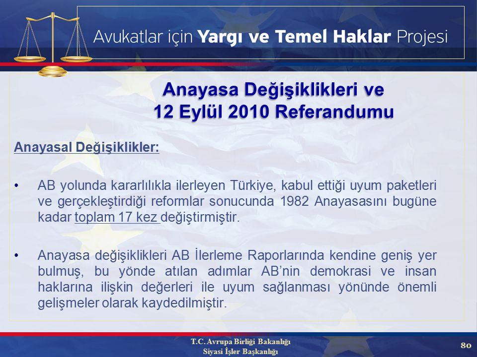 80 Anayasa Değişiklikleri ve 12 Eylül 2010 Referandumu Anayasal Değişiklikler: AB yolunda kararlılıkla ilerleyen Türkiye, kabul ettiği uyum paketleri ve gerçekleştirdiği reformlar sonucunda 1982 Anayasasını bugüne kadar toplam 17 kez değiştirmiştir.