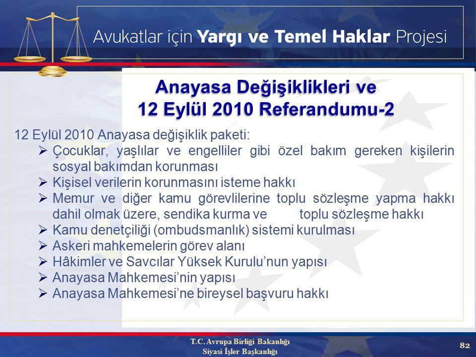 82 Anayasa Değişiklikleri ve 12 Eylül 2010 Referandumu-2 12 Eylül 2010 Anayasa değişiklik paketi:  Çocuklar, yaşlılar ve engelliler gibi özel bakım gereken kişilerin sosyal bakımdan korunması  Kişisel verilerin korunmasını isteme hakkı  Memur ve diğer kamu görevlilerine toplu sözleşme yapma hakkı dahil olmak üzere, sendika kurma ve toplu sözleşme hakkı  Kamu denetçiliği (ombudsmanlık) sistemi kurulması  Askeri mahkemelerin görev alanı  Hâkimler ve Savcılar Yüksek Kurulu'nun yapısı  Anayasa Mahkemesi'nin yapısı  Anayasa Mahkemesi'ne bireysel başvuru hakkı T.C.