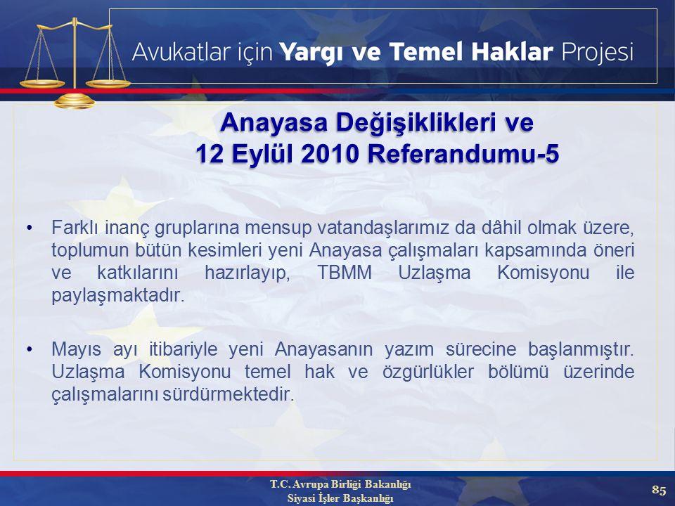 85 Anayasa Değişiklikleri ve 12 Eylül 2010 Referandumu-5 Farklı inanç gruplarına mensup vatandaşlarımız da dâhil olmak üzere, toplumun bütün kesimleri yeni Anayasa çalışmaları kapsamında öneri ve katkılarını hazırlayıp, TBMM Uzlaşma Komisyonu ile paylaşmaktadır.