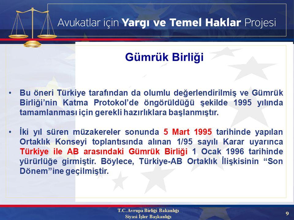 9 Bu öneri Türkiye tarafından da olumlu değerlendirilmiş ve Gümrük Birliği'nin Katma Protokol'de öngörüldüğü şekilde 1995 yılında tamamlanması için gerekli hazırlıklara başlanmıştır.