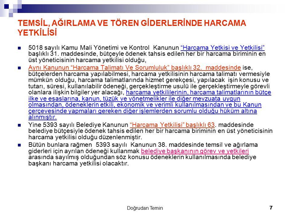 Doğrudan Temin 38 Doğrudan teminde ceza sorumluluğu Doğrudan temin usulüyle yapılan alımlarda ortaya çıkan 4734 sayılı Kanunun 17 inci ve 4735 sayılı Kanunun 25 inci maddesinde belirtilen yasak fiil veya davranışların Türk Ceza Kanununa göre suç teşkil etmesi; bu fiil veya davranışlar için ceza sorumluluğuna ilişkin hükümlerin uygulanmasına engel teşkil etmez.